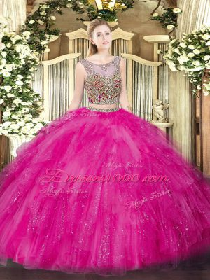 New Arrival Hot Pink Two Pieces Tulle Scoop Sleeveless Beading and Ruffles Floor Length Lace Up Quinceanera Dress
