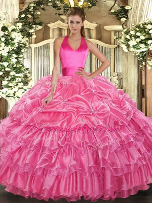 Elegant Rose Pink Lace Up Halter Top Ruffled Layers and Pick Ups Sweet 16 Dresses Organza Sleeveless