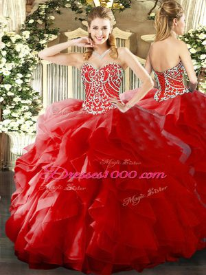 Perfect Sleeveless Organza Floor Length Lace Up 15th Birthday Dress in Red with Beading and Ruffles