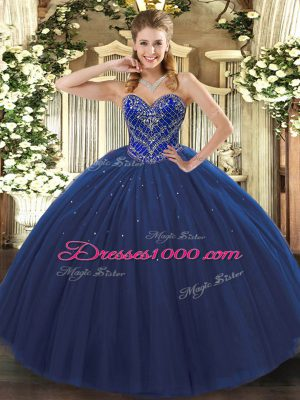 Custom Fit Floor Length Navy Blue Sweet 16 Dresses Sweetheart Sleeveless Lace Up