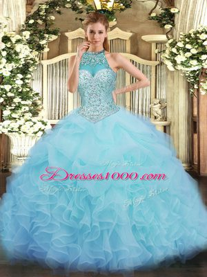 Aqua Blue Lace Up 15 Quinceanera Dress Beading and Ruffles and Pick Ups Sleeveless Floor Length