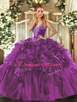 Decent Eggplant Purple Straps Neckline Beading and Ruffles Quinceanera Dresses Sleeveless Lace Up