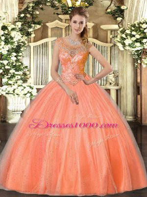 Chic Floor Length Orange Red Sweet 16 Dresses Tulle Sleeveless Beading