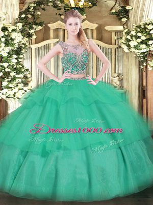 Floor Length Turquoise Sweet 16 Dress Scoop Sleeveless Lace Up