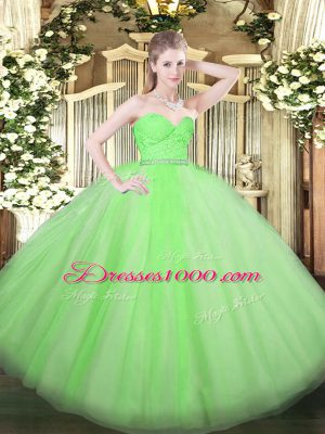 Decent Sweetheart Zipper Beading and Lace Quince Ball Gowns Sleeveless