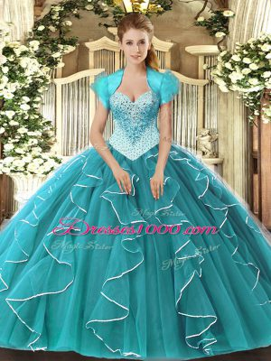 Extravagant Teal Sleeveless Beading Floor Length 15 Quinceanera Dress