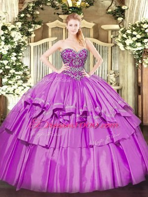 Ball Gowns Vestidos de Quinceanera Lilac Sweetheart Organza and Taffeta Sleeveless Floor Length Lace Up