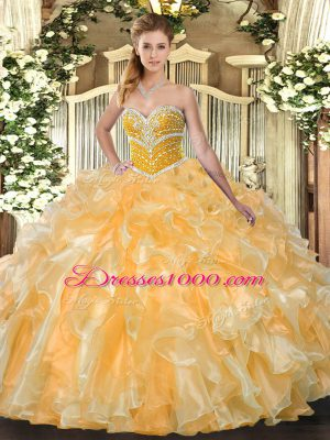 Orange Lace Up Sweetheart Beading and Ruffles Sweet 16 Quinceanera Dress Organza Sleeveless