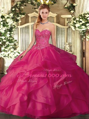 Extravagant Floor Length Hot Pink Quinceanera Gown Sweetheart Sleeveless Lace Up