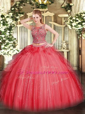 Graceful Coral Red Vestidos de Quinceanera Military Ball and Sweet 16 and Quinceanera with Beading and Ruffles Scoop Sleeveless Lace Up