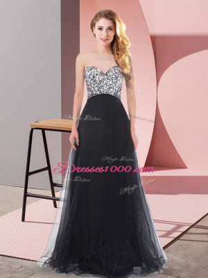 Wonderful Sweetheart Sleeveless Dress for Prom Floor Length Beading Black Organza and Chiffon and Tulle