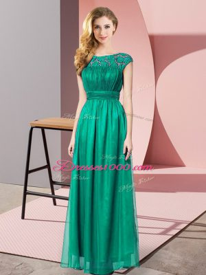 Traditional Floor Length Empire Sleeveless Turquoise Dress for Prom Zipper