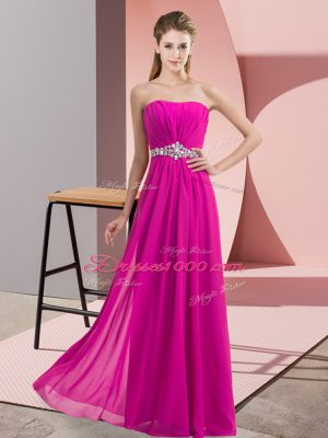 Fuchsia Empire Strapless Sleeveless Chiffon Floor Length Lace Up Beading Teens Party Dress