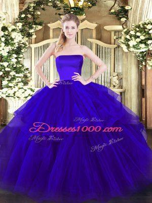 Sleeveless Brush Train Ruffled Layers Zipper Ball Gown Prom Dress