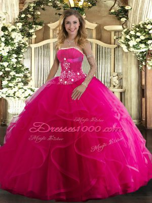 Hot Pink Ball Gowns Tulle Strapless Sleeveless Beading and Ruffles Floor Length Lace Up Ball Gown Prom Dress