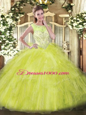Low Price Beading and Ruffles Sweet 16 Dress Yellow Green Zipper Sleeveless Floor Length
