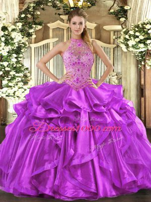 Best Selling Floor Length Lace Up Sweet 16 Dresses Purple for Sweet 16 and Quinceanera with Beading and Embroidery and Ruffles