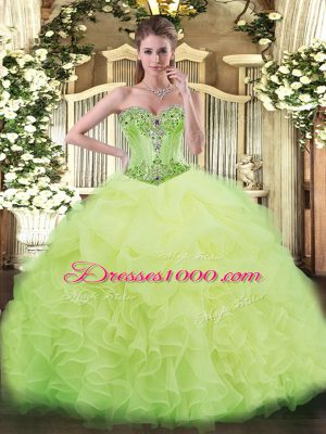 Comfortable Yellow Green Organza Lace Up Quinceanera Dresses Sleeveless Beading and Ruffles