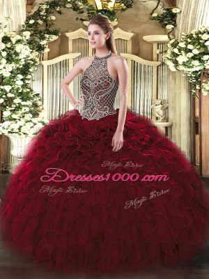 Wine Red Lace Up Halter Top Beading and Ruffles Ball Gown Prom Dress Organza Sleeveless