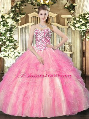 Floor Length Rose Pink Quinceanera Dresses Sweetheart Sleeveless Lace Up