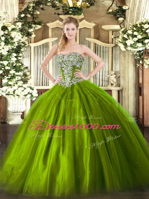 Excellent Olive Green Tulle Lace Up Strapless Sleeveless Floor Length Ball Gown Prom Dress Beading