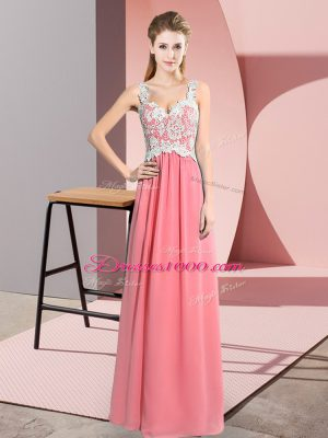 Elegant V-neck Sleeveless Chiffon Prom Party Dress Lace Zipper