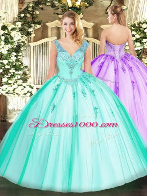 Custom Designed Turquoise Organza and Tulle Lace Up V-neck Sleeveless Floor Length Sweet 16 Quinceanera Dress Beading