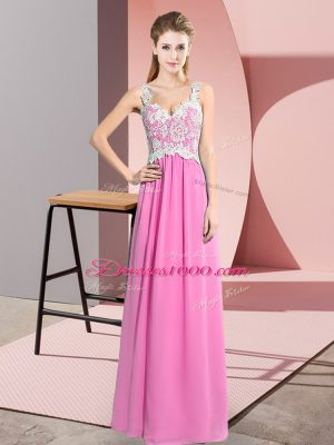 Custom Designed V-neck Sleeveless Chiffon Prom Dresses Lace Zipper