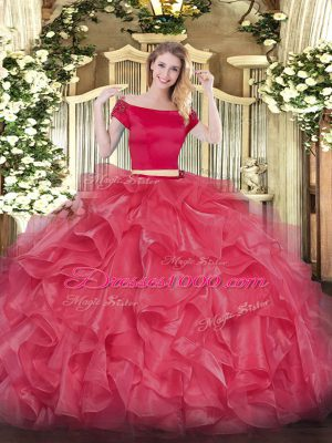 Coral Red Short Sleeves Organza Zipper Quinceanera Dress for Military Ball and Sweet 16 and Quinceanera