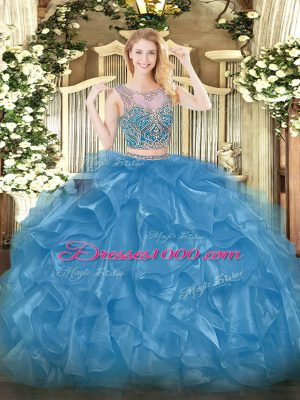 Gorgeous Baby Blue Organza Lace Up Scoop Sleeveless Floor Length 15 Quinceanera Dress Beading and Ruffles