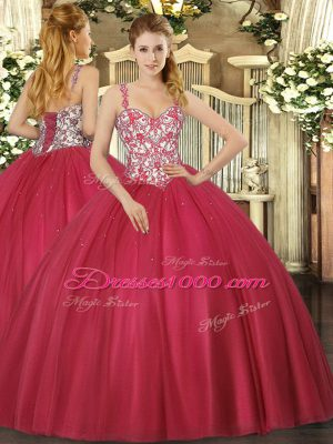 New Style Coral Red Ball Gowns Beading and Appliques Quinceanera Dresses Lace Up Tulle Sleeveless Floor Length