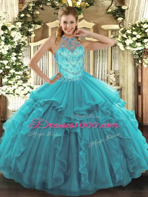 Best Teal Sweet 16 Dresses Military Ball and Sweet 16 and Quinceanera with Beading and Embroidery and Ruffles Halter Top Sleeveless Lace Up