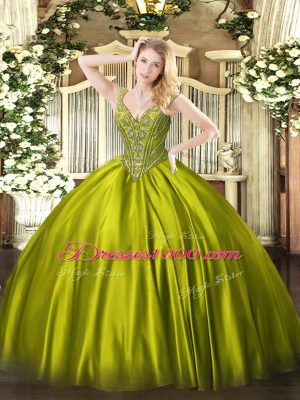 Stunning Ball Gowns Quinceanera Gown Olive Green V-neck Satin Sleeveless Floor Length Lace Up