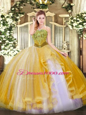 Fabulous Gold Tulle Lace Up 15th Birthday Dress Sleeveless Floor Length Beading and Ruffles