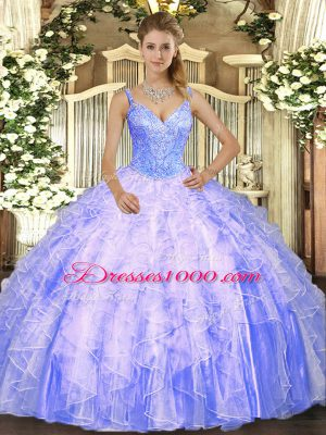 V-neck Sleeveless Quinceanera Dresses Floor Length Beading and Ruffles Lavender Tulle