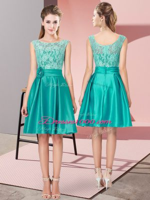 Custom Designed Turquoise Sleeveless Mini Length Lace and Hand Made Flower Zipper Womens Party Dresses