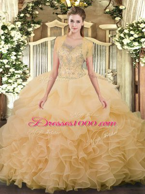 Exquisite Floor Length Champagne 15th Birthday Dress Scoop Sleeveless Clasp Handle