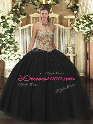 Popular Sweetheart Sleeveless 15 Quinceanera Dress Floor Length Beading Black Tulle