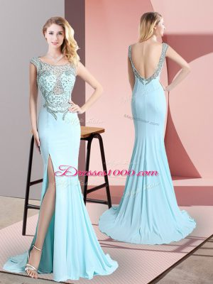 Affordable Sleeveless Sweep Train Beading Backless Party Dresses