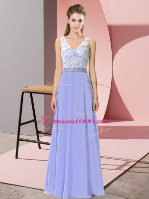 Clearance Floor Length Empire Sleeveless Lavender Party Dress Wholesale Backless