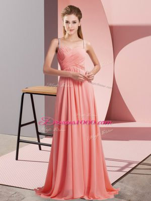 Sweep Train Empire Prom Evening Gown Watermelon Red Spaghetti Straps Chiffon Sleeveless Backless