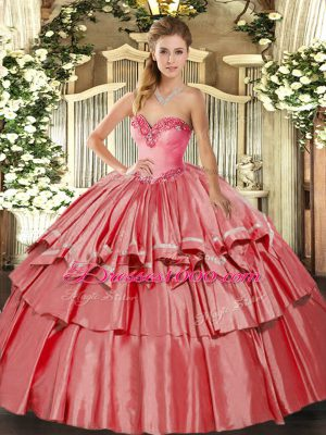 Floor Length Ball Gowns Sleeveless Coral Red Sweet 16 Dress Lace Up