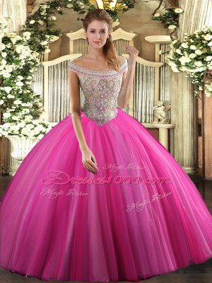 Hot Pink Sleeveless Tulle Lace Up Quinceanera Gowns for Sweet 16 and Quinceanera