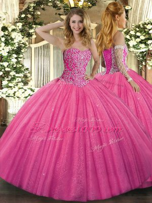 Floor Length Hot Pink Quinceanera Gown Tulle Sleeveless Beading