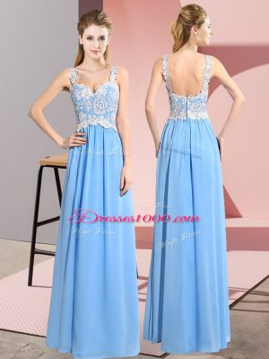 Elegant Aqua Blue Chiffon Zipper Prom Party Dress Sleeveless Floor Length Lace