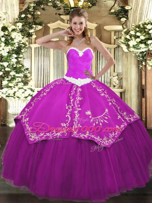 Fuchsia Lace Up Sweetheart Appliques and Embroidery Sweet 16 Quinceanera Dress Organza and Taffeta Sleeveless
