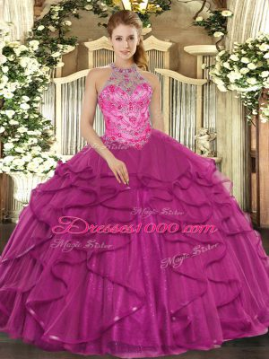 Fuchsia Halter Top Neckline Beading and Ruffles Sweet 16 Quinceanera Dress Sleeveless Lace Up