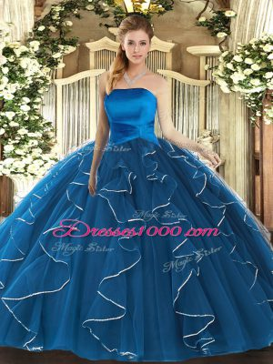 Blue Lace Up Strapless Ruffles Vestidos de Quinceanera Tulle Sleeveless