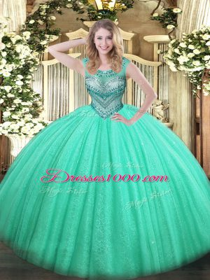 Best Sleeveless Tulle and Sequined Floor Length Lace Up Vestidos de Quinceanera in Turquoise with Beading