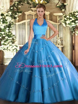 Adorable Baby Blue Ball Gowns Appliques Quinceanera Dress Lace Up Tulle Sleeveless Floor Length